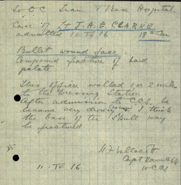 This gunshot wound to Lt. Clarke's face resulted in blindness in the right eye. See service record for more detail.