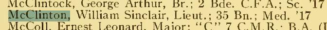 Screen Capture of McClinton entry U of T Varsity Supplement July 1915