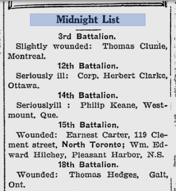 The Midnight List from The Toronto World March 20 1916 Thomas Hedges of the 18th Wounded.