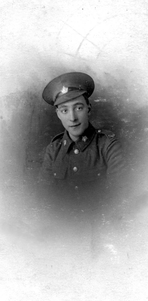 Private Aaron Gilbert Ludwig #126835 18th Canadian Reserve Battalion. Taken at Dibgate Camp Shorncliffe Kent.