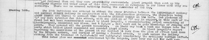 War Diary Entry Detailing Death of DR MacDonald