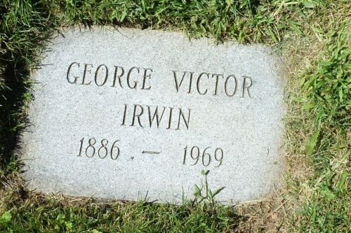 Possible Headstone of G.V. Irwin. George Victor IRWIN Oak Lawn (Jordan Station United)+, OGS#3309, (prev Louth) Lincoln Cemetery Niagara (Lincoln & Welland) Co./Reg./Dist., Ontario GEORGE VICTOR IRWIN 1886 - 1969 [In Painter plot]