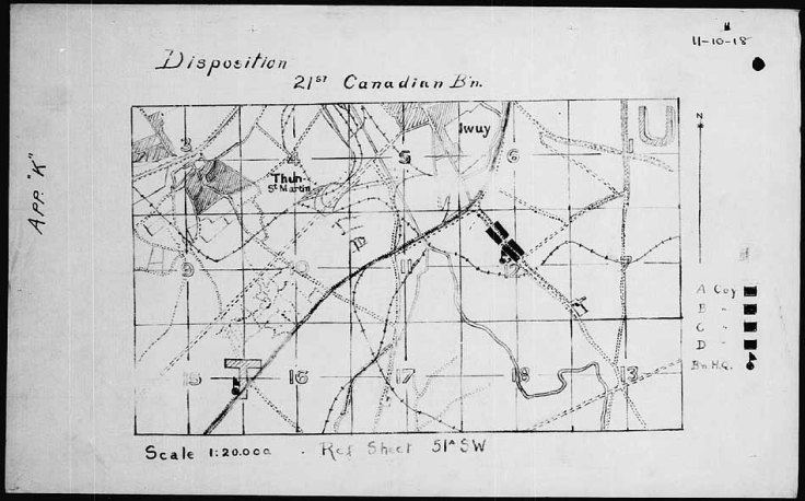 20th Battalion Disposition on 11/11/18. Reference the German map below. The Canadian were attaching South-West.