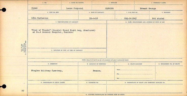 """""""Died of Wounds"""" (Gunshot Wound Right Leg, Fractured) at No. 4 General Hospital, Camiers."""