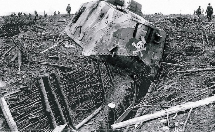 German A7V disabled by trench. Apparently captured by New Zealand forces in the Iwuy area during the action of October 11, 1918.