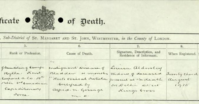 Close up of Death Certificate