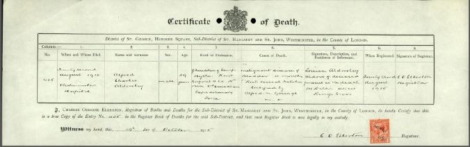 Death Certificate Alfred Charles Adersley