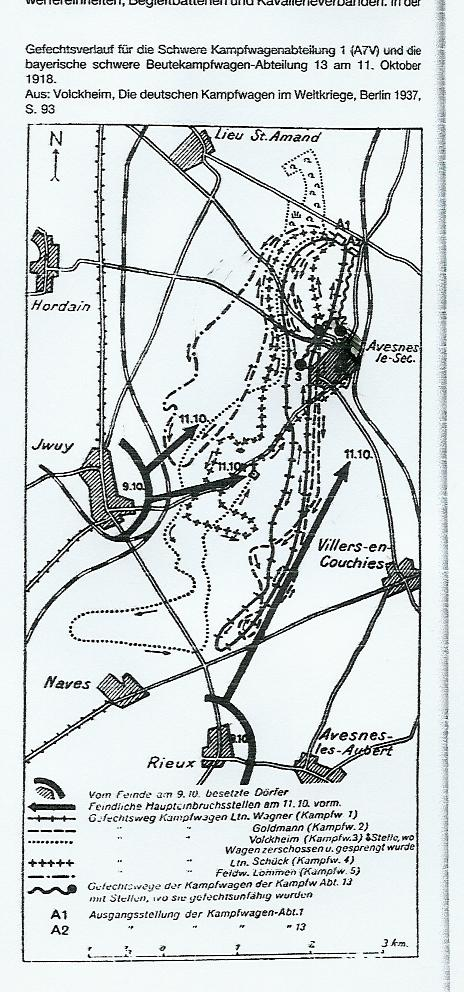 Map outlining the German attack on Iwuy, France