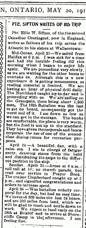 news Clipping Letter Written May 20 1915 by Ellis Sifton to Sisters