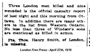 Source: CVWM page. London Free Press - April 27, 1916.