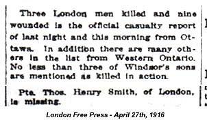 Source: CVWM page. London Free Press - April 27, 1916.