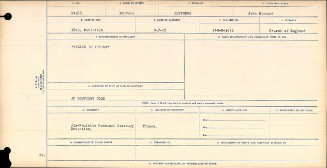 Circumstances of Death card for Private Jack R. Matthews, 54288.