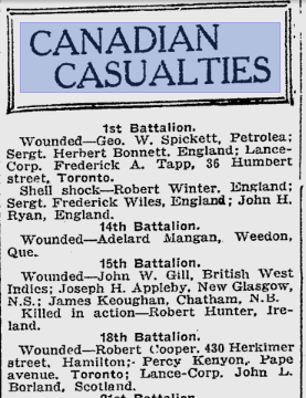 Canadian Casualties Toronto World March 31 1916