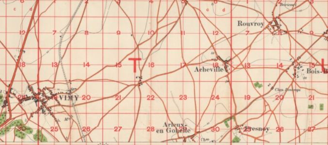 Capture of map showing Acheville in relation to Vimy