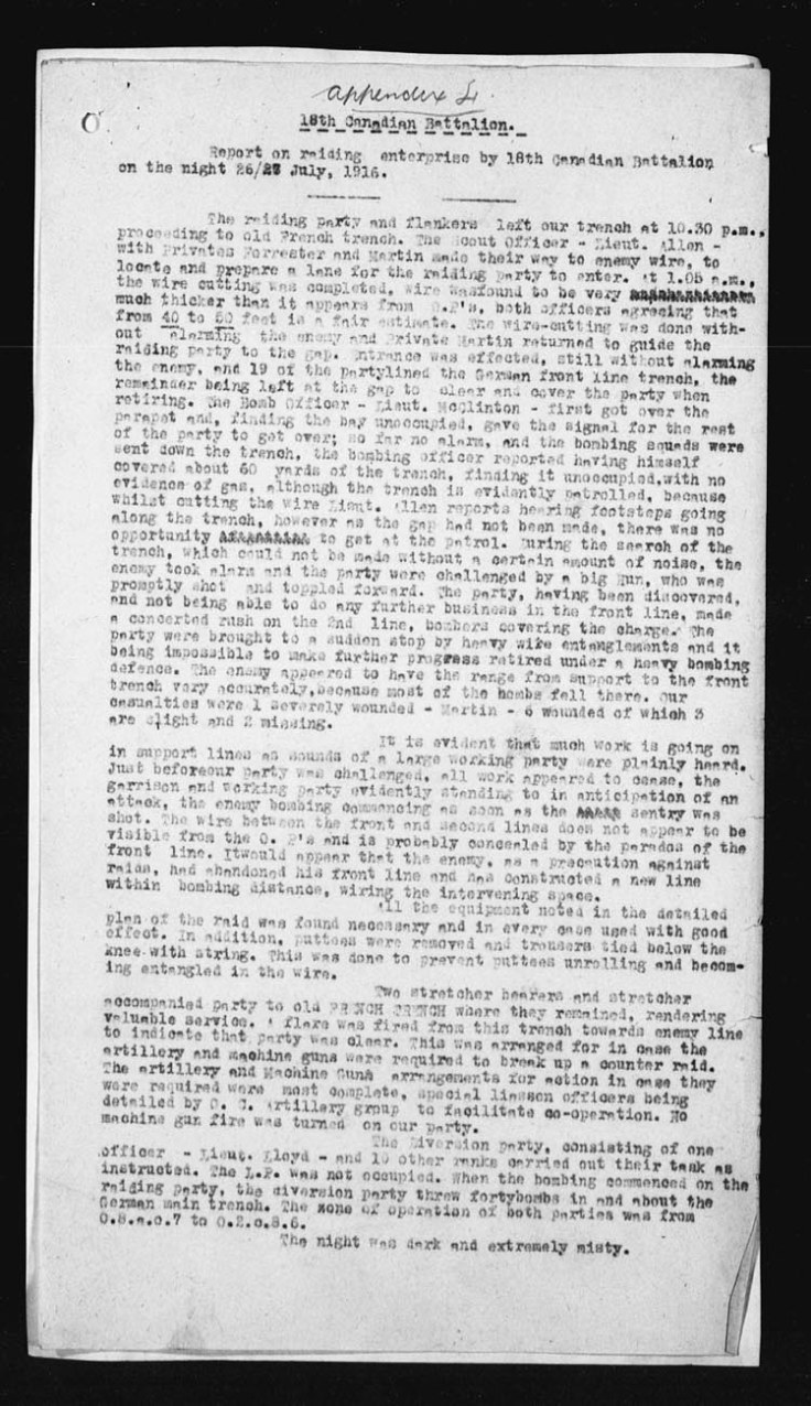 Report of the raid on the German trenches. See transcription above.