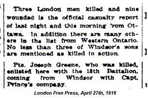 Newspaper clipping Joseph Green April 27 1916