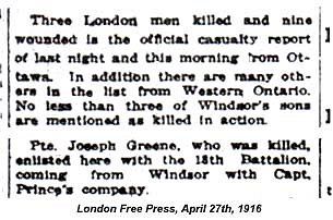 Newspaper clipping Joseph Green April 27 1916