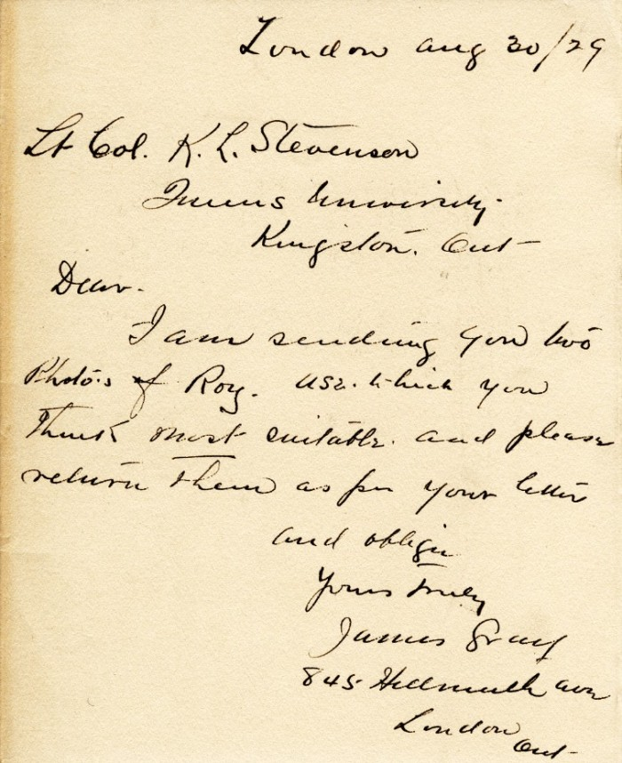 Correspondence, James Gray To Queen's, 30 Aug 1929