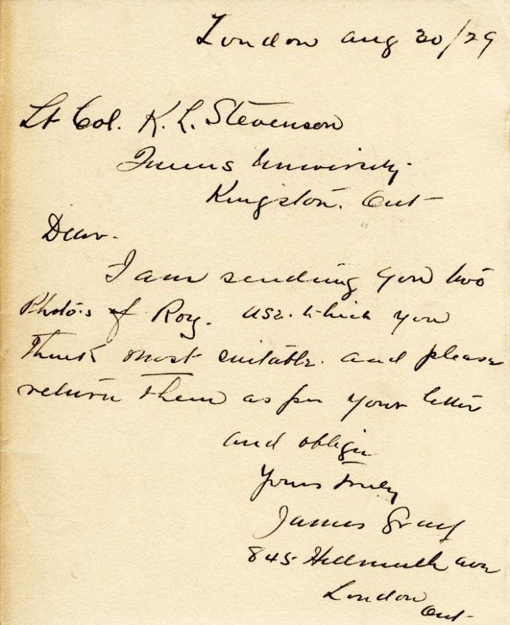 Correspondence, James Gray To Queen's, 30 Aug 1929