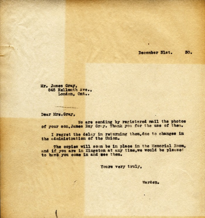 Correspondence, Queen's To James Gray (father), 31 Dec 1930