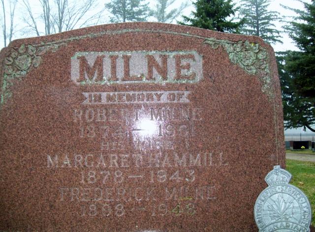 928768 MILNE, Frederick 1898 - 1948 Elora Municipal Cemetery