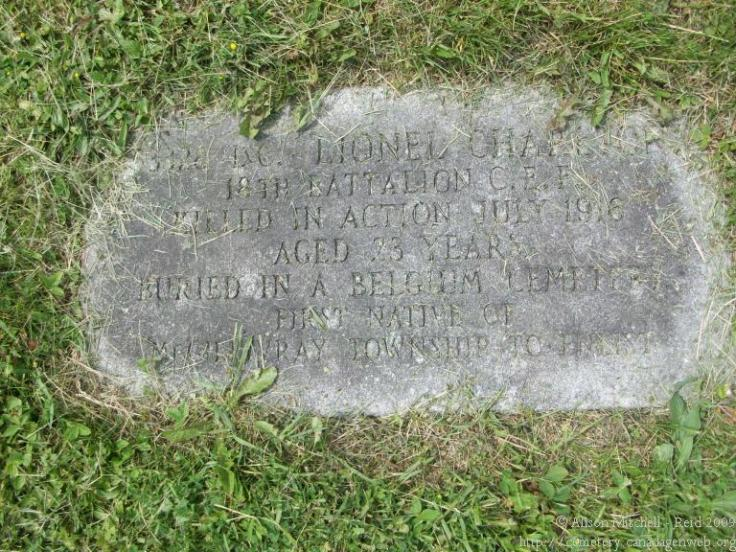 Lionel CHARLTON 1893-1916 Carlisle Community / Carlyle / Falkirk Cemetery East Williams Township (Concession 2, Lot 29) Middlesex County, ON - See more at: http://geneofun.on.ca/names/photo/915095?PHPSESSID=d4719ac5315e869b1b773391881266ff#sthash.IOSENwBT.dpuf Photos courtesy of Alison Mitchell-Reid & Margaret Yasui {2009} Indexed by Alison Mitchell-Reid - See more at: http://geneofun.on.ca/names/photo/915095?PHPSESSID=d4719ac5315e869b1b773391881266ff#sthash.IOSENwBT.dpuf