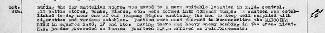 War Diary Example from October 1918 showing Officer with Initials