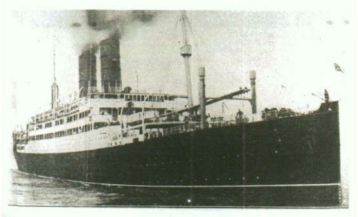 SS Tuscania is the ship Pte. J.T. Dewar transited on across the Atlantic to start his war service on the Continent after being posted to East and West Sandling Camps in Folkestone, England.