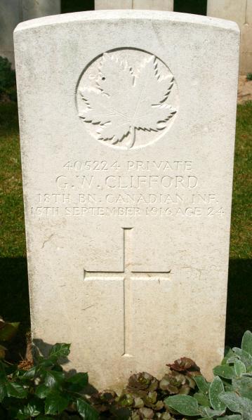 Grave Marker – Grave marker photo courtesy of Wilf Schofield, England. Source: CVWM.