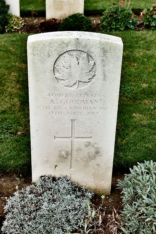 Grave Marker – The grave marker at the Bois Carre British Cemetery located on Vimy Ridge at the eastern edge of the town of Thelus, France. The cemetery is about 6 kilometres from Canada's Vimy Memorial. May he rest in peace. (John & Anne Stephens 2013) via CVWM.