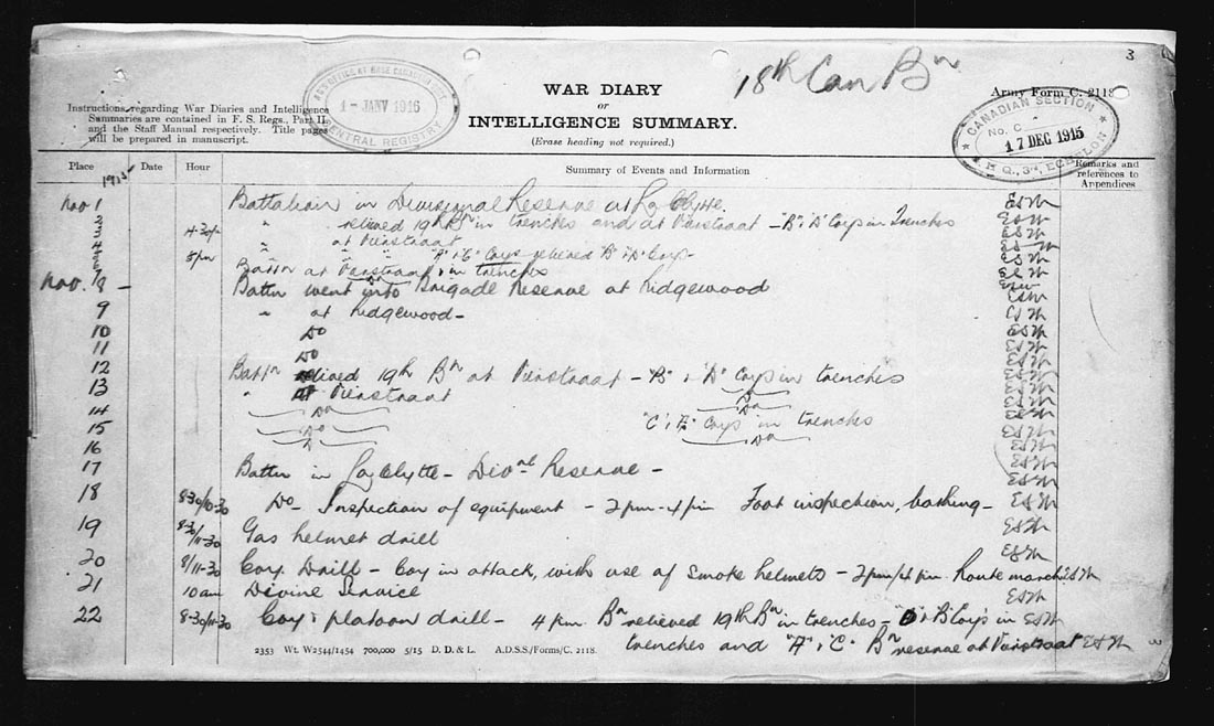 100 Years Ago November 11 1915 War Diary Of The 18th Battalion Cef