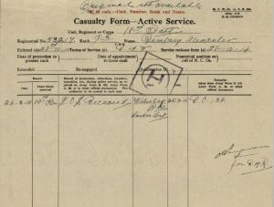 Casualty Form Active Service