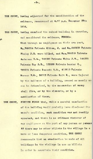 Court of Inquiry findings of cook house collapse outlining soldiers involved in incident. Source: Pte.Aitken's service record.