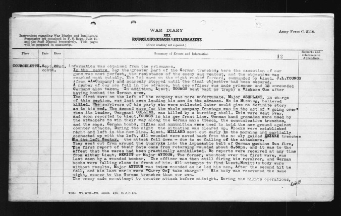 War Diary description of circumstances surrounding date that Major Ashplant went missing.