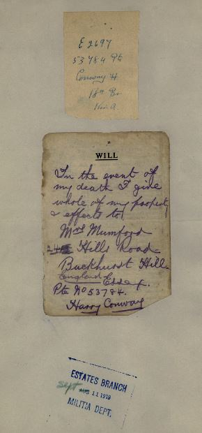 Will. Note signature as Harry Conway.