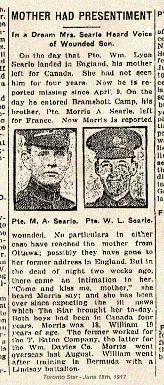 Enl in 38 BN at Lindsay ON on May 28, 1915. Carpenter. Brother Maurice Arthur Searle 769422 born Nov 6 1897 in Croydon, Surrey, England. Mail Carrier at Eatons. He enl Toronto De 28, 1915 in 124 BN.