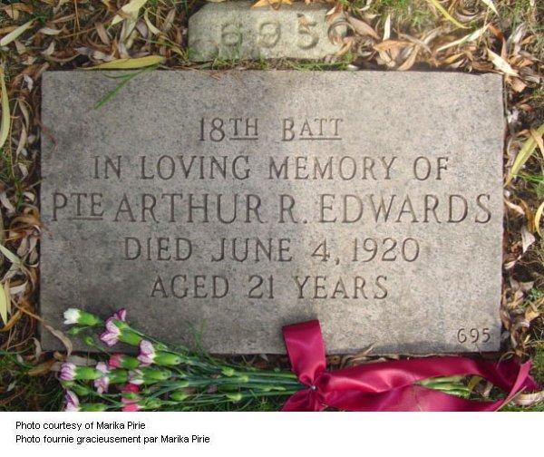 Headstone, Prospect Cemetery, Toronto, Ontario, plot 695. Via CVWM and Marika Pirie.