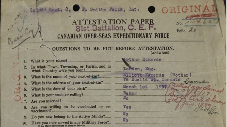 Attestation page showing notation (in red ink) correcting the date of birth,