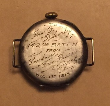Back of watch with insription given to Lt. J.G. Dohetry by the London Free Press on December 1st, 1915. Via: http://blogs.canoe.com/coolblognametocome/news/jack-dohertys-watch/