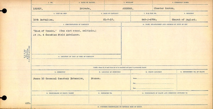 """""""Died of Wounds."""" (Gunshot wound, multiple.) At No. 6 Canadian Field Ambulance."""