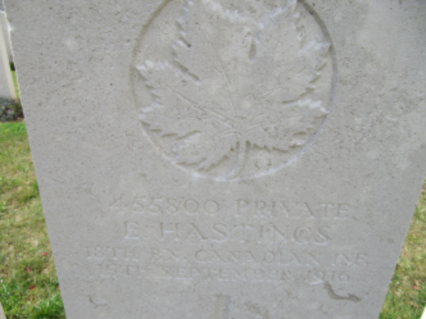 Grave marker – Photo courtesy Keith Boswell, England. Source: CVWM