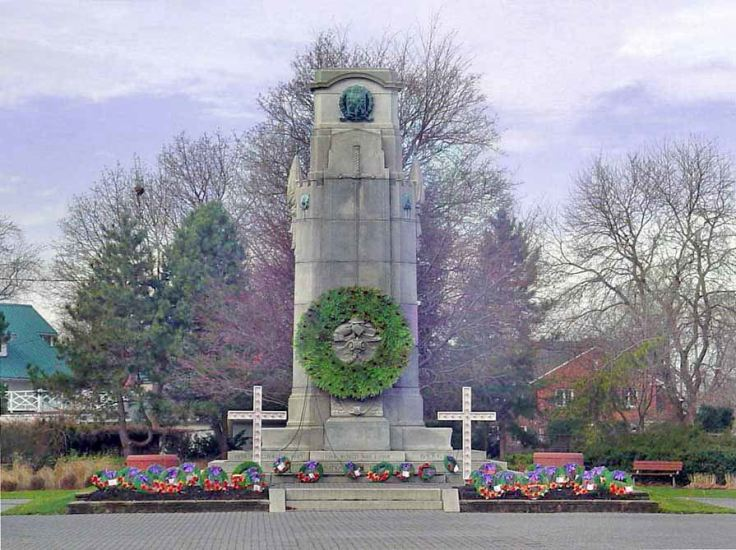 Memorial – The Cenotaph at Memorial Park in St. Catharines, Ontario, was dedicated on August 7th, 1927 by the Prince of Wales (future King Edward VIII), and unveiled by Brigadier General W. B. M. King, C.M.G., D.S.O. The names of St. Catharines men who died as a result of their service during World War I are listed on two bronze tablets located at City Hall. Source: CVWM