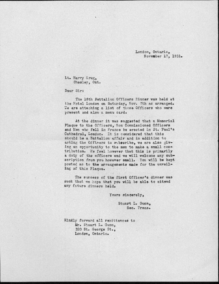 A2006.175 Letter to Lt. Harry Krug re 18th Battalion Dinner 1931-a