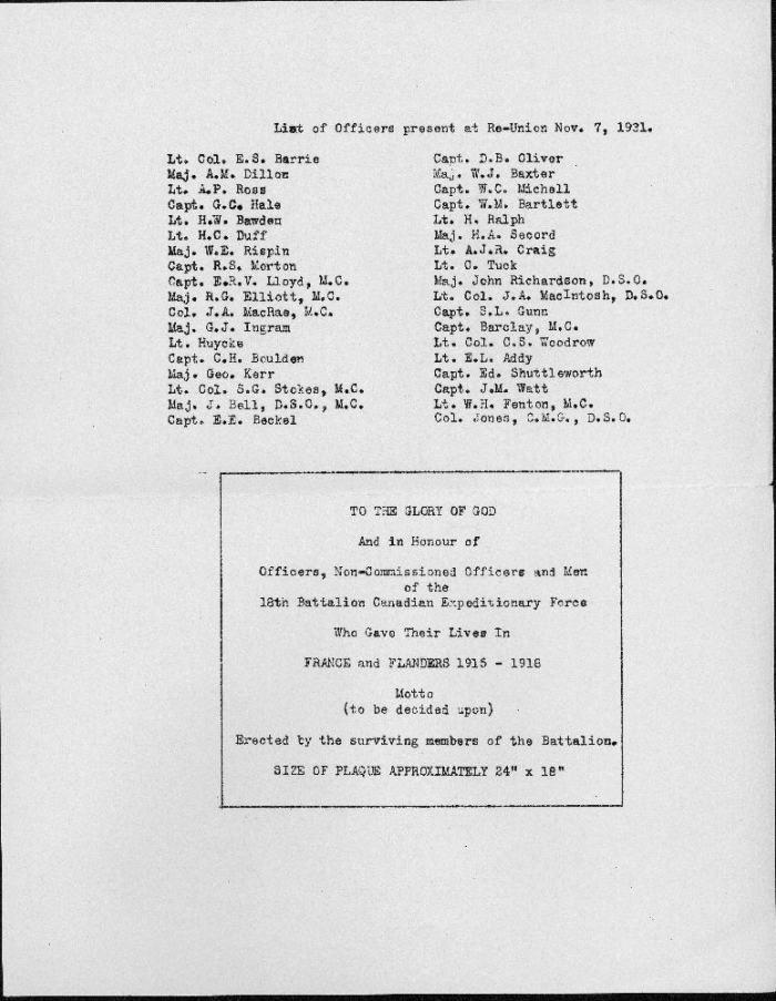 A2006.175 Letter to Lt. Harry Krug re 18th Battalion Dinner 1931-b