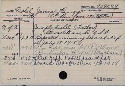 Card from service record showing date of becoming POW