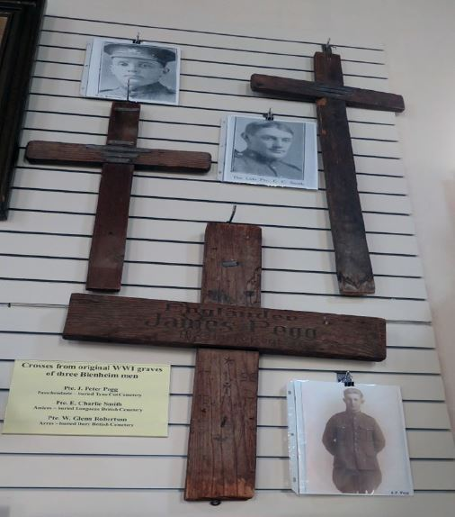 Original grave markers for the Boys of Blenheim located at Blenheim and District Freedom Library and Museum.