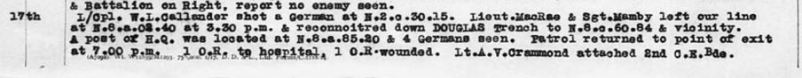 War diary entry for July 17, 1918 with incorrect spelling of Lt. Cramond's name.