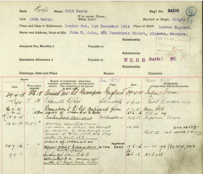 Service Record Page