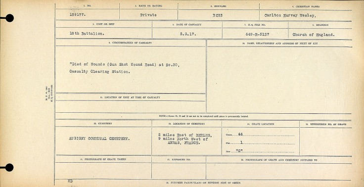 """""""Died of Wounds"""" (Gun Shot Wound Head) at No. 30 Casualty Clearing Station."""