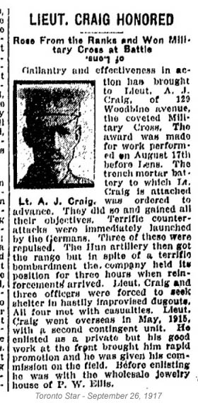 This is probably Lt Arthur James Robson Craig of Toronto. Enl 19 BN in Toronto Nov 19/14. Father in Birmingham England. Die cutter.